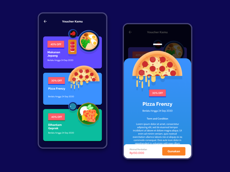 Voucher Page gradation discount modal box card plate sushi chicken ramen pizza vector branding app food ui design illustration