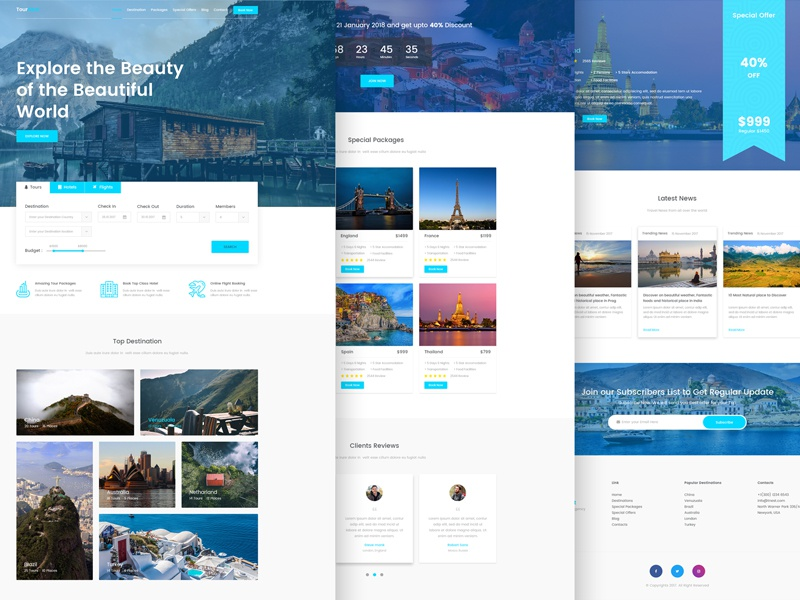 Tournest Travel Agency Responsive Html5 Website Template Free By Themesine Dribbble Dribbble