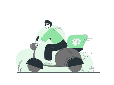 Delivery on the way! scooter food delivery green graphic design app vector illustration design 2d