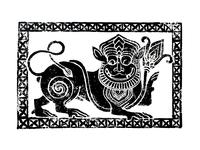 Hoysala Lion_Linocut Print
