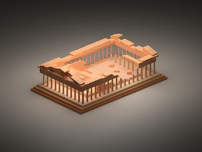 Parthenon athens greek temple parthenon isometric fun room low poly poli design art