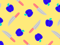 Blue peppers and knifes