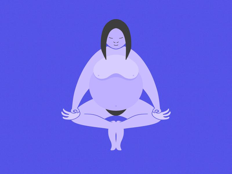 Meditation shape women illustration purple meditation yoga