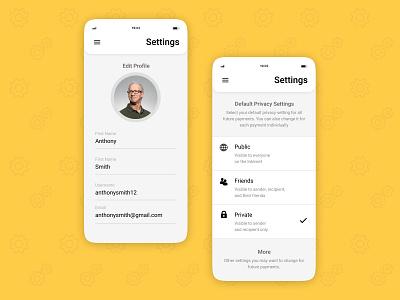 Settings Screen mobile ui profile settings page setting screen settings ui setting ui