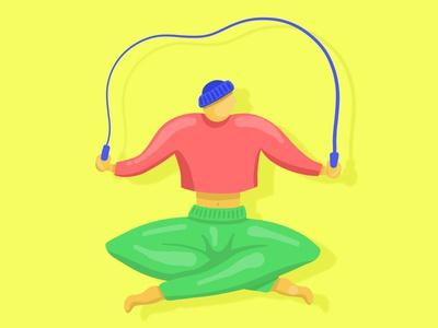 Yoga Jump Rope yoga floating character animation character illustration guy exercise rope jump jump rope