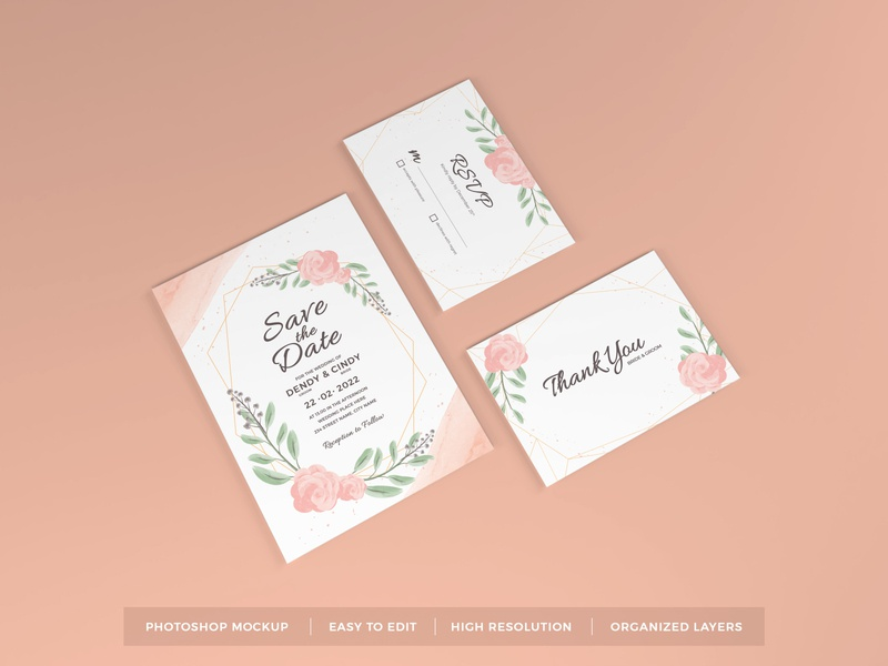 Download Wedding Invitation Mockup Vol 6 letter mock up text scene leaves feminine floral beautiful decoration elegant stationery greeting flower paper card template rsvp invitation wedding mockup