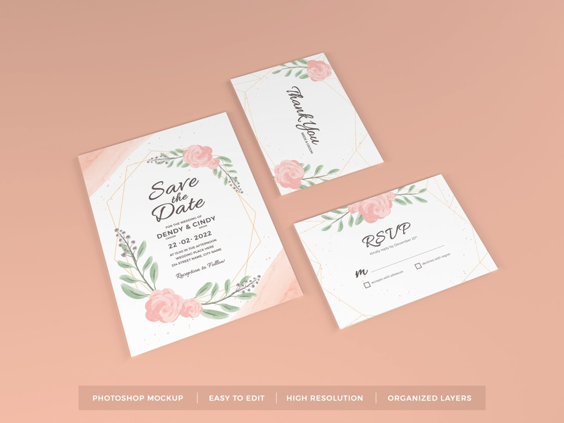 Download Wedding Invitation Mockup Vol 8 letter mock up text scene leaves feminine floral beautiful decoration elegant stationery greeting flower paper card template rsvp invitation wedding mockup