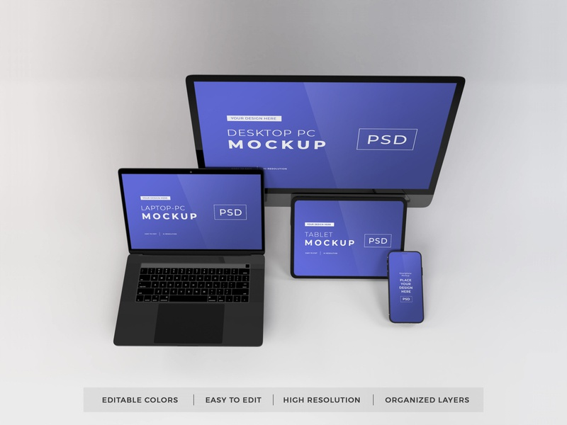 Download Responsive Devices Mockup Vol 9 realistic imac macbook desktop laptop pc computer ipad tablet electronic iphone gadget mockup device screen mobile technology template phone smartphone