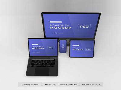 Download Responsive Devices Mockup V 10 (Freebie) macos mac apple macbook device notebook template technology display mockup screen laptop scene creator computer