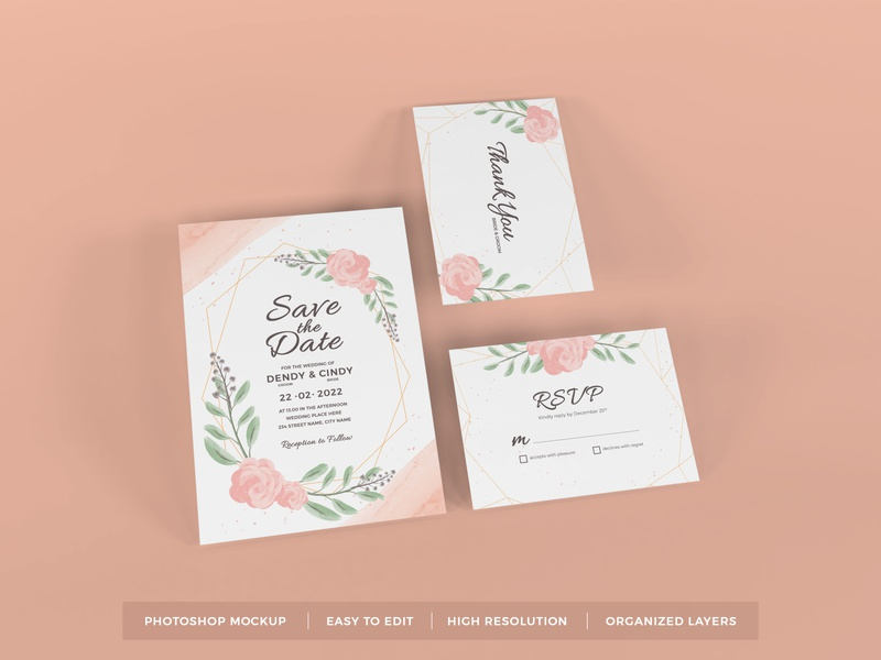 Download Wedding Invitation Mockup Vol 10 (Freebie) letter mock up text scene leaves feminine floral beautiful decoration elegant stationery greeting flower paper card template rsvp invitation wedding mockup