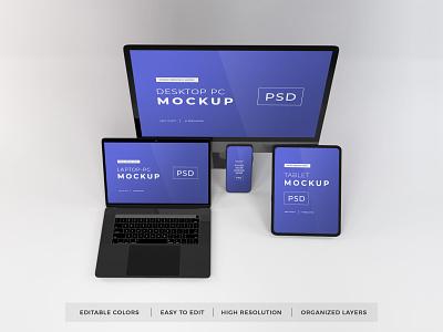 Download Responsive Devices Mockup Vol 11 template premium photoshop mockup