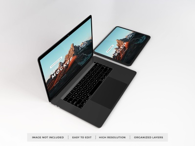Download MacBook & iPad Mockup Vol 13 template premium photoshop mockup