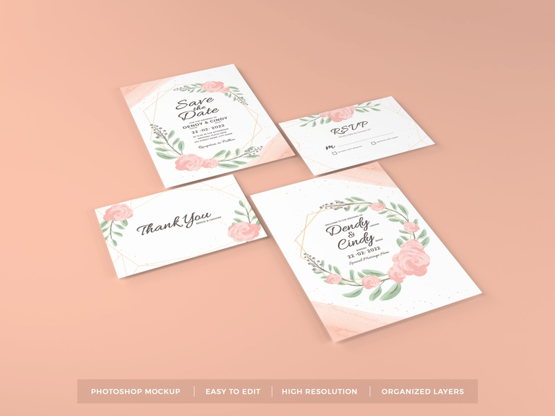 Download Wedding Invitation Mockup Vol 13 illustration design paper wedding template premium photoshop mockup