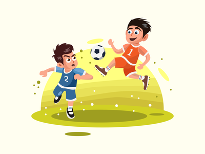 Two Kids Playing Soccer Vector Illustration ux ui web soccer sport character flat element design vector illustration