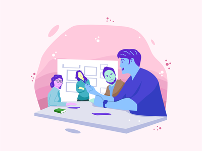 Business Meeting Flat Illustration background character business app web ui flat ux element design vector illustration