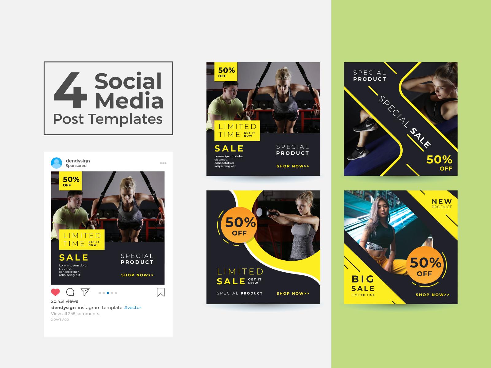 Social Media Post Design Templates Vol 12 By Dendy Herlambang On Dribbble