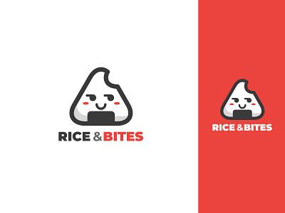 Rice & Bites Logo Design onigiri brand food business element vector icon branding illustration design logo design logo