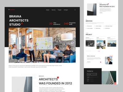 Architect Design Agency web templete constraction building art properties home page interior consultancy agency web ui website architect design landing page