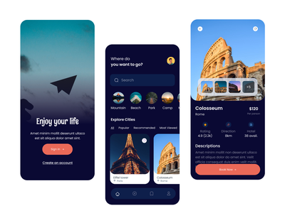 Travel Service App mobile ux ui app home page app design mobile app hotel book booking app travels app traveling app travel app travel