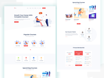 Online Course Landing page uiux marketing site online course online shopping apps creative landing page agency uidesign web logo text branding text effect logo illustration vector type design typography ux