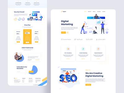 Digital marketing landing page themes music cv portfolio creative marketing agency app icon website typography design web illustration ux ui