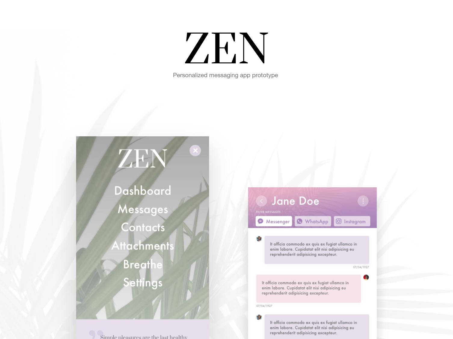 ZEN messaging app social app typography message app app ui branding design
