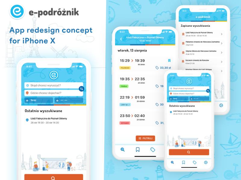 Redesign e-podróżnik.pl for iPhone X App branding ux illustration travel transport redesign concept redesigned mobile ui app design iphone x
