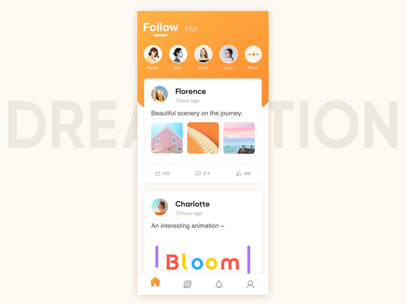 Social apps interface koi thumb up card design ui like social