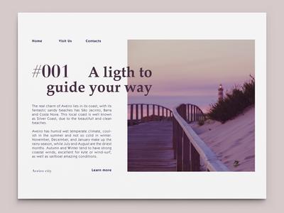 #001 Lighthouse aveiro beach lighthouse magazine editorial typography purple unsplash photo indesign digital layout