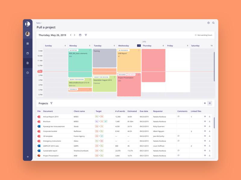 Dashboard product user business visual design week workload capacity schedule corporate desktop data visualization ux ui interface enterprise software monitor app calendar dashboad