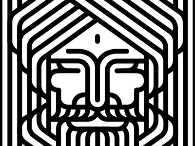 Man in turban monochrome graphic head geometic linestyle illusion stripes lines lineart linear line blackwhite white black illustration