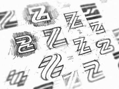 Z letter exploration branding variation monogram graphic minimal n exploration sketch z minimalistic symbol logotype mark logo icon negative space vector flat design 2d