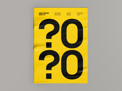 2020 layout font typography composition graphic designer meetup 2020 yellow print poster simple branding sign minimalistic negative space vector flat design 2d