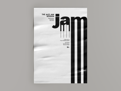 The jazz jam session experimental jam jazz graphic font typography composition poster print sing letterform branding letter simple minimalistic negative space vector flat design 2d