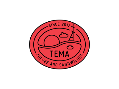 TEMA redesign bean coffee sunset typography cafe retro vintage badge branding mark minimalistic logotype logo icon negative space vector flat design 2d