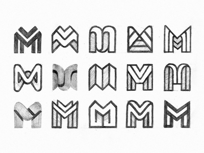 M exploration alphabet typography sketches exploration letterform monogram letter m branding symbol mark minimalistic logotype logo icon negative space vector flat design 2d