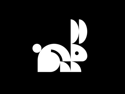 Rabbit minimal rabbit geometic graphic vintage retro wildlife animal branding symbol mark minimalistic logotype icon logo negative space vector flat design 2d