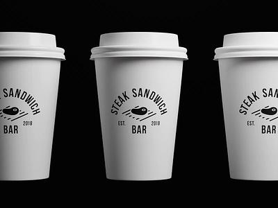 Steak Sandwich Bar cup bar coffee animation 3d typography food restaurant cafe coffe symbol mark minimalistic logotype icon logo negative space vector flat design 2d