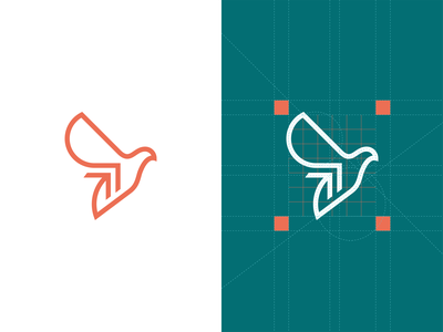 Bird+Arrow mark minimalistic minimal geometry grid symbol digital growth arrow pigeon dove bird negative space branding logotype logo vector flat design 2d