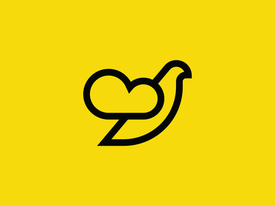 Dove + Cloud yellow storage weather symbol mark minmal tech it cloud dove pigeon brid branding logotype logo negative space vector flat design 2d