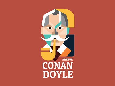 Arthur Conan Doyle abstract portrait geometric writer minmal detector sherlock holmes sherlock books english book english arthur conan doyle conan doyle book author illustration vector flat design 2d