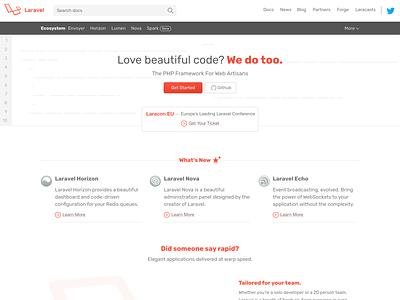 Laravel.com Home Page php laravel design redesign ux ui