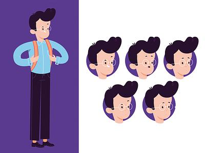 Startup Concept: Character characterdesign face glasses man jetpack strartup character design illustration