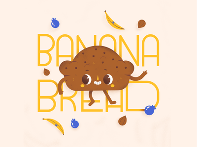 Banana Bread procreate typography design food characterdesign character banana bread banana fruit typography illustrator cute character design digital illustration illustration