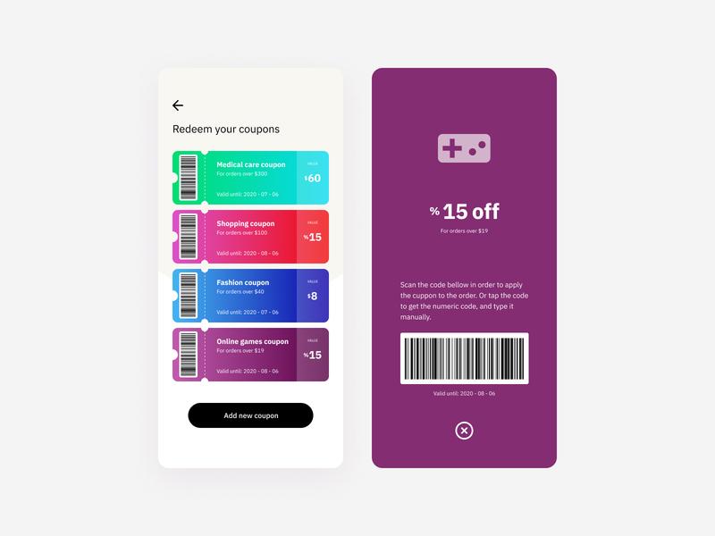 Daily UI #061 - Redeem Coupon mobileui mobile design app ios app mobile gradient colorful interaction design ios mobileapp interaction dailyui uiux uidesign challenge daily ui design coupon interface ui