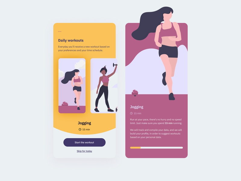 Daily UI #062 - Workout of the Day interfacedesign dailyuichallenge interface design ui design ux ui fitness workout fitness app sport mobile ui interaction design interaction mobile app design mobile app challenge dailyui design challenge mobile interface
