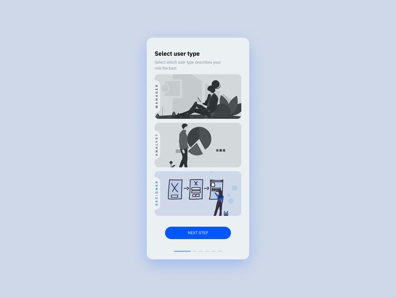 Daily UI #064 - Select User Type profile onboarding ui design interaction user interface design user experience interfacedesign interface userinterface user illustrations ui ux daily ui dailyui uidesign app mobileapp mobile ux ui