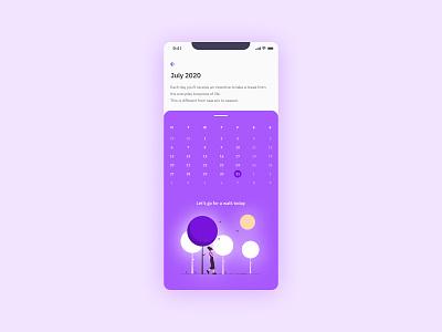 Daily UI #080 - (not a) Date Picker ios app design ios app vibrant colorful purple ux design uidesign datepicker date calendar interface design ui design interface mobile app design app app design mobile app design ux ui