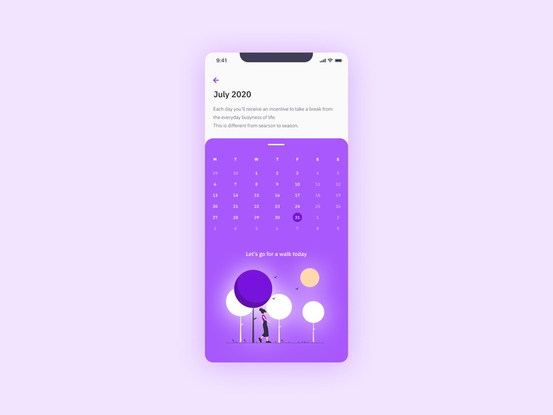 Daily UI #080 - (not a) Date Picker ios app design ios app vibrant colorful purple ux design uidesign datepicker date calendar interface design ui design interface mobile app design app app design mobile app design ux ui