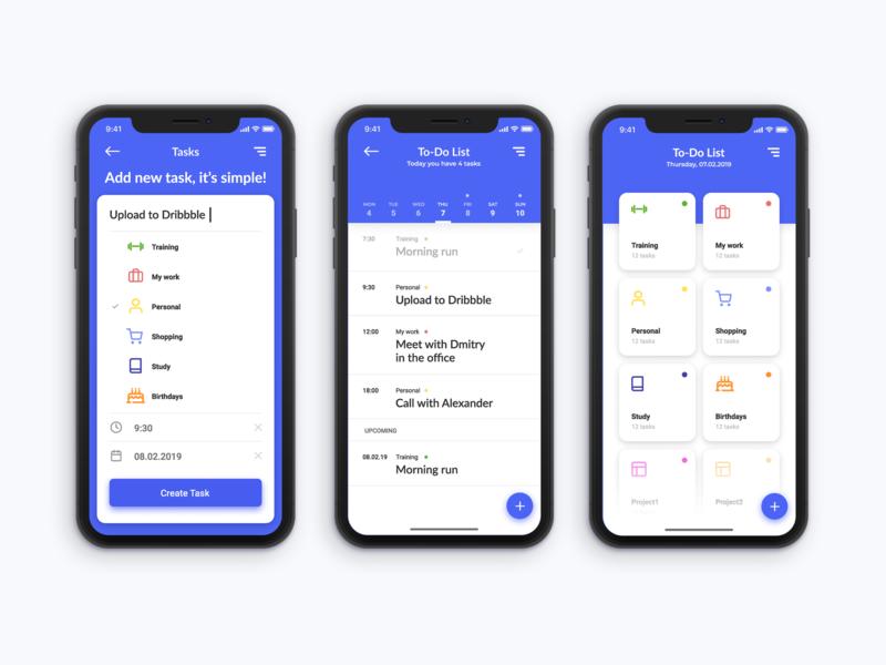 To-Do List App to do list to do app ui ux ui mobile app interace app design